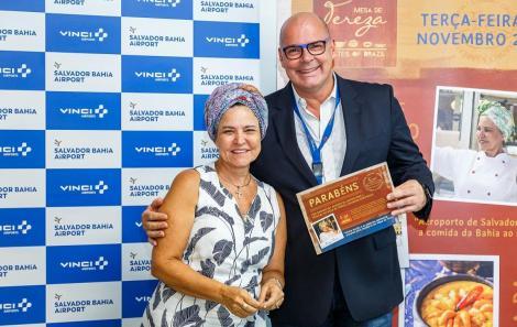 Tereza Paim e Júlio Ribas -CEO do Aeroporto . Foto: Will Recarey